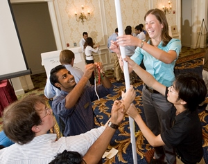 Tiffany Cremer participates in a team-building exercise during Residency 1.