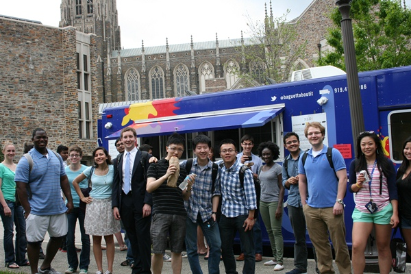 MEM and MEng students line up for lunch courtesy of Durham's Baguettaboutit food truck.