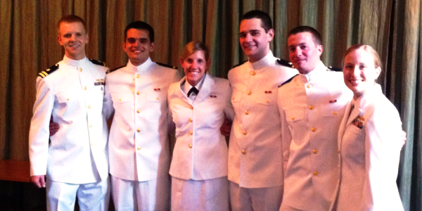 Legault (far left) served as one of two advisors for the NROTC class of 2011 at Duke.