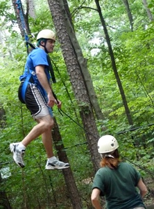 Brandon Sights flies high on a ropes course during Residency 2.
